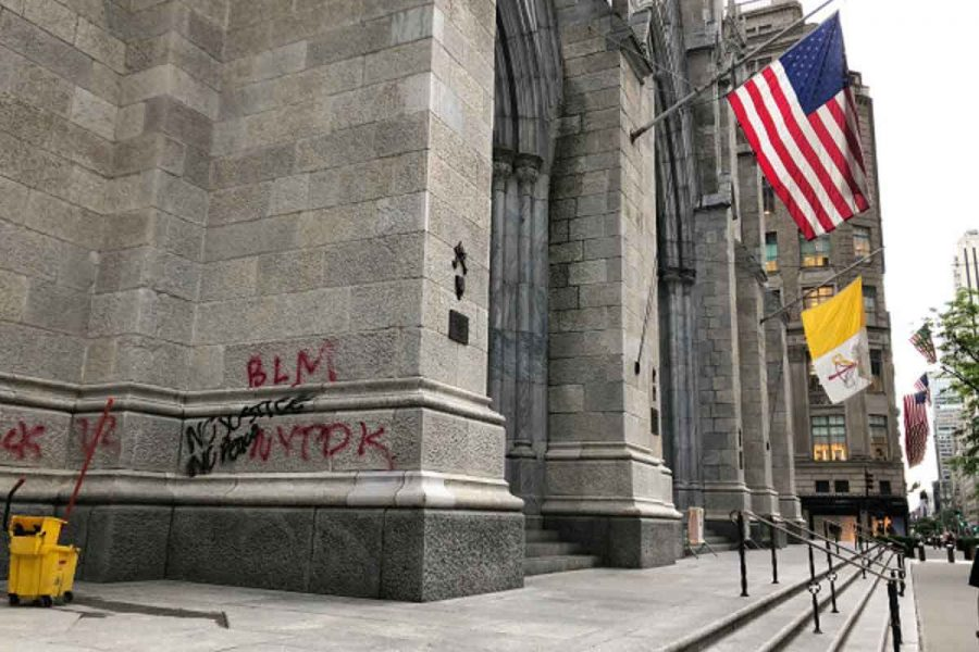 St. Patrick's Cathedral desecrated with protest graffiti